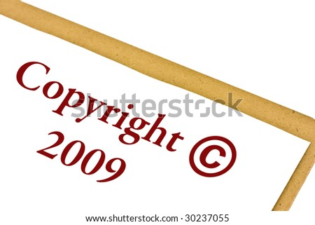 Copyright 2009 symbol on a clipboard isolated on white - stock photo