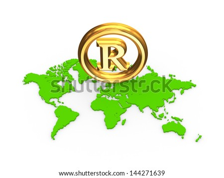 Copyright symbol on a map.Isolated on white.3d rendered. - stock photo