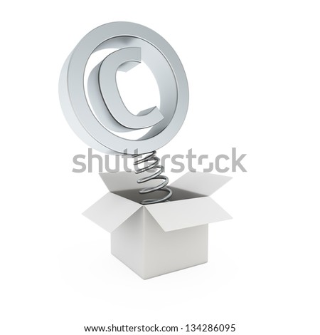 Copyright symbol on spring in the gift box - stock photo