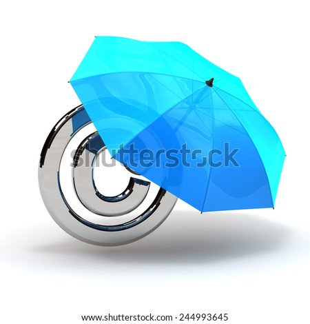 copyright symbol with umbrella protection blau - stock photo