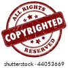 Copyrighted material stamp - stock photo