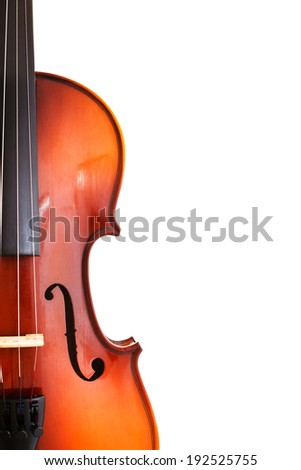 copyspace and half of classical wooden fiddle isolated on white background