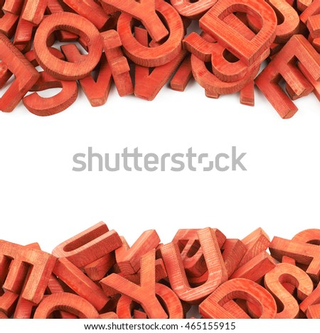Copyspace backdrop composition with the borders made of painted wooden letters isolated over the white background