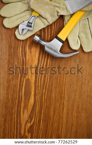 copyspace background of building tools - stock photo