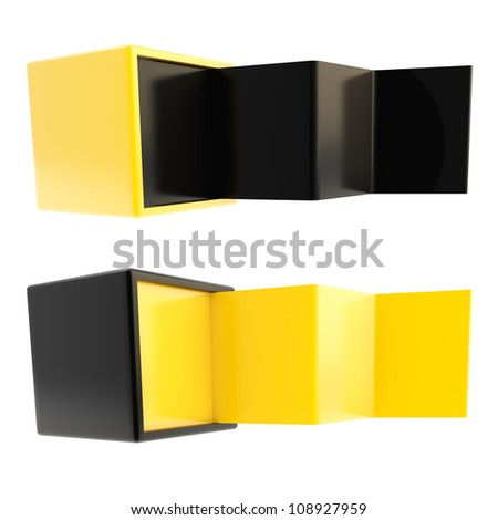 Copyspace banner template as black and yellow plastic folded four part stand in a cube box isolated on white, set of two - stock photo