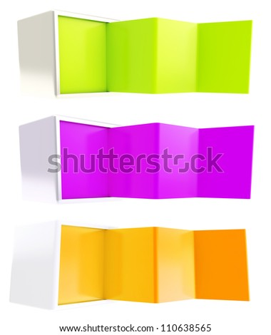 Copyspace banner template as colorful glossy plastic bent four part stand in a cube box isolated on white, set of three - stock photo
