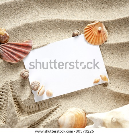 copyspace blank paper on white beach sand summer starfish and and shells - stock photo