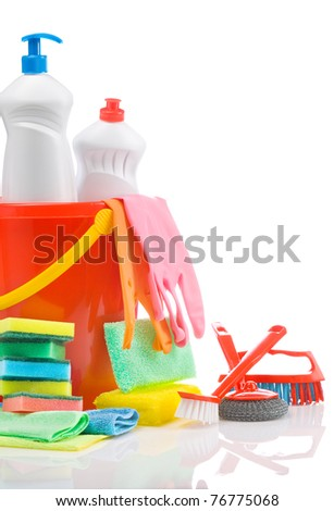 copyspace cleaners isolated - stock photo