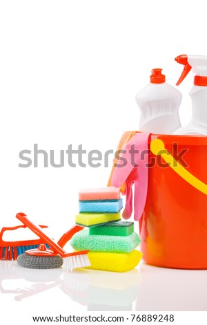 copyspace composition of cleaning items - stock photo