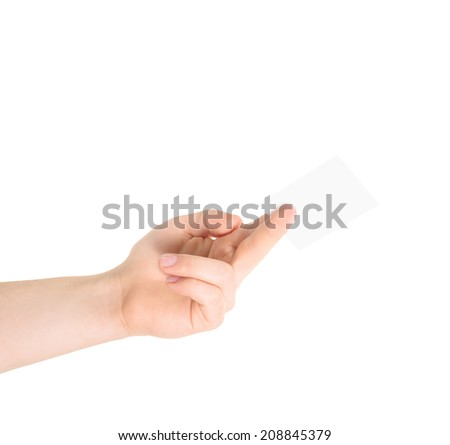 Copyspace empty visiting calling card in a caucasian hand isolated over white background