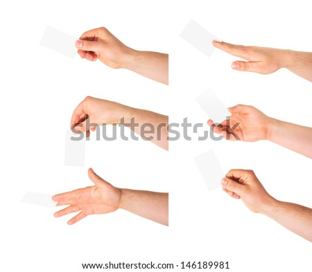 Copyspace empty visiting calling card in a caucasian hand isolated over white background, set of six foreshortenings - stock photo