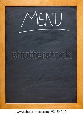 Copyspace for your own menu, chalk board, - stock photo