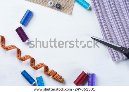 Copyspace frame with sewing tools - stock photo
