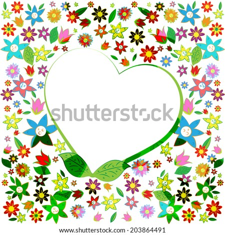 Copyspace Heart Representing Valentines Day And Blank - stock photo