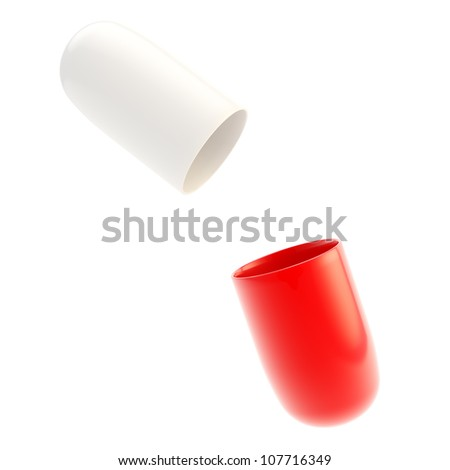 Copyspace medicine capsule pill case opened in two glossy halfs red and white isolated - stock photo