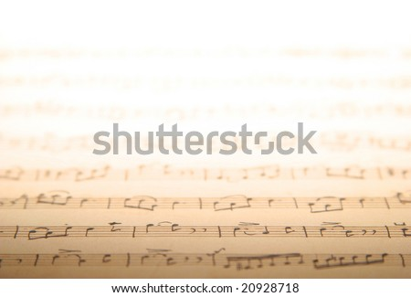 Copyspace of old music notes - stock photo