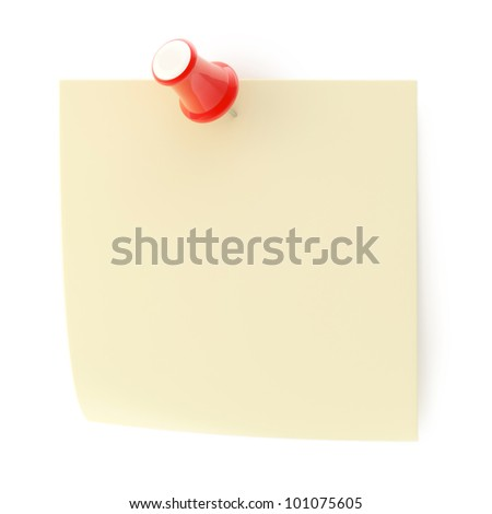 Copyspace paper note reminder sticked with red glossy pushpin isolated on white - stock photo