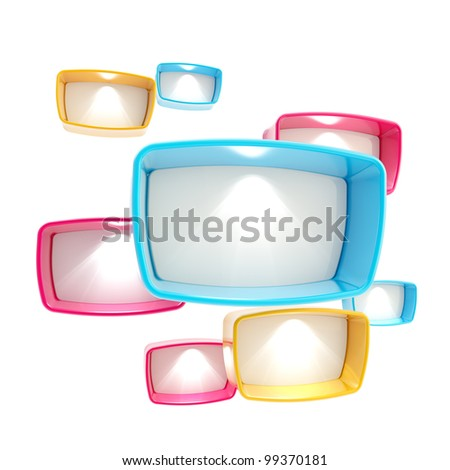Copyspace template background made of colorful light boxes isolated on white - stock photo