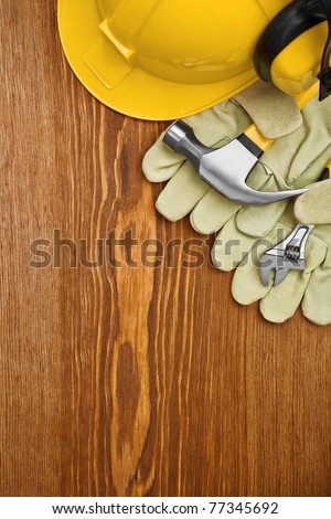 copyspace view on the working tools - stock photo