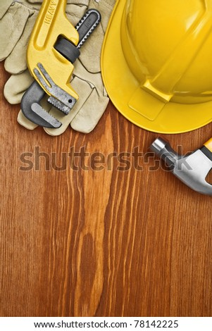 copyspace view on the working tools on wooden board - stock photo
