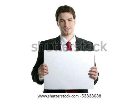 copyspace white paper in young handsome businessman smiling - stock photo
