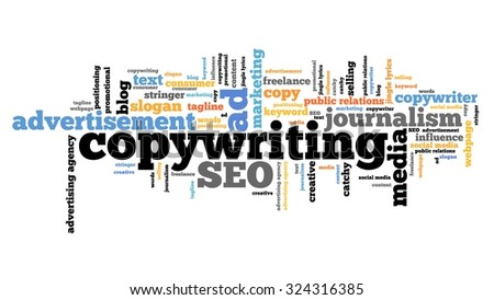 Copywriting - marketing industry issues and concepts tag cloud illustration. Word cloud collage concept. - stock photo