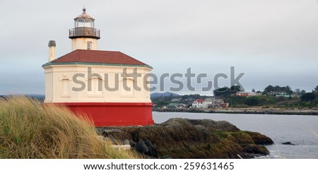 Coquille River Lighthouse Bandon Bay Oregon Pacific Ocean Inlet - stock photo