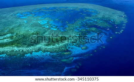 coral atoll great barrier reef aerial view Queensland