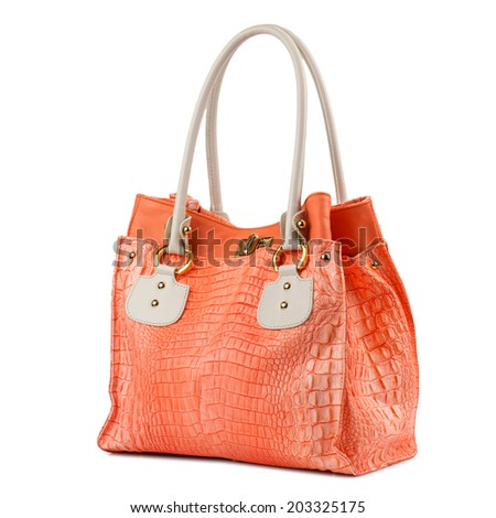Coral female leather bag isolated on white background(made of reptile skin)