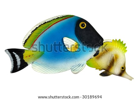Coral fishes. Ceramic souvenirs from tropical resort - stock photo