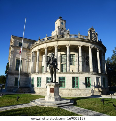 Coral Gables City Hall, Miami, Florida, USA. Coral Gables City Hall is the Spanish Renaissance style favored by George Merrick. - stock photo
