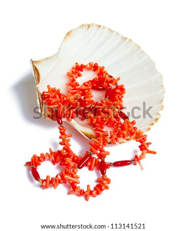 coral necklace over sea shell on white - stock photo