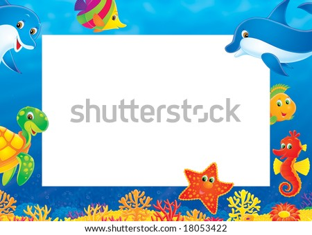 Coral reef Photo frame - stock photo