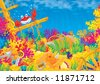 Coral reef Wallpaper, underwater background, illustration for your design - stock vector