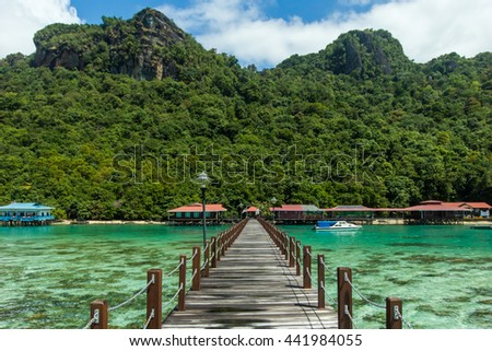 Corals reef and islands seen from the jetty of Bohey Dulang Island, Sabah, Malaysia. - stock photo