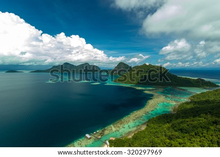 Corals reef and islands seen from the peak of Bohey Dulang Island, Sabah, Malaysia. - stock photo