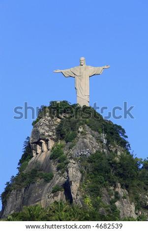 corcovado christ redeemer in rio de janeiro brazil - stock photo