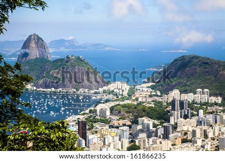Corcovado Rio de Janeiro Brazil Sugar Loaf Mountain  - stock photo