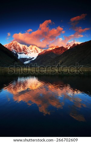 Cordiliera Huayhuash, Laguna Jahuacocha, Peru, South America - stock photo