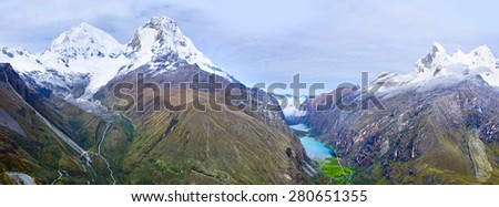 Cordillera Blanca - mountain Huascaran in Peru - stock photo