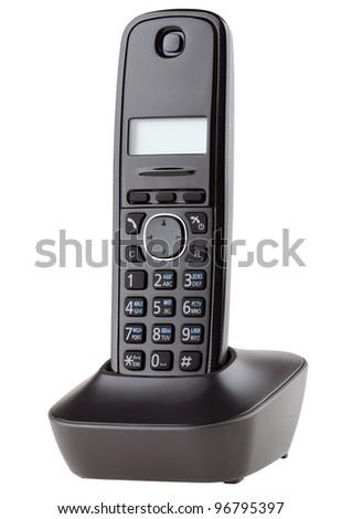 Cordless black telephone with cradle isolated on white - stock photo