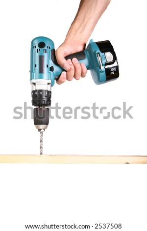 Cordless Drill - Isolated on White - stock photo