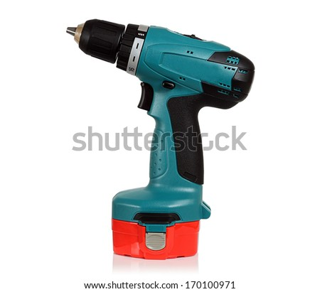 Cordless drill on a white background in the Studio.