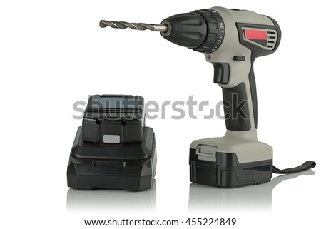 Cordless drill screwdriver with drill and charger on a white background.