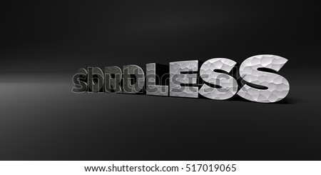 CORDLESS - hammered metal finish text on black studio - 3D rendered royalty free stock photo. This image can be used for an online website banner ad or a print postcard.