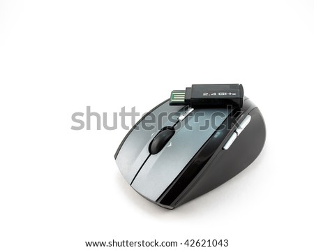 Cordless mouse over white
