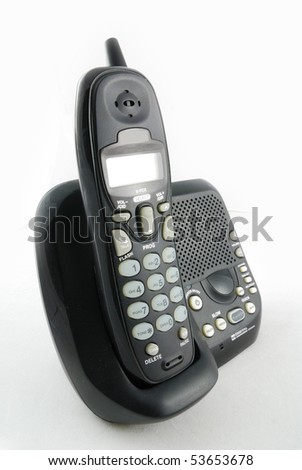 cordless phone closeup with white background