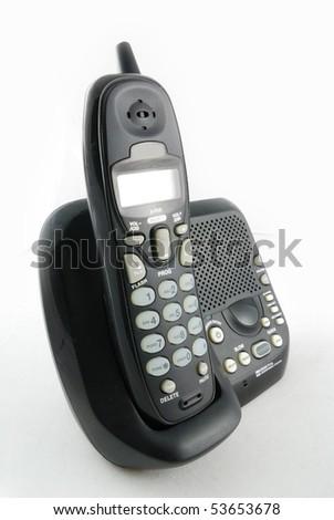 cordless phone closeup with white background - stock photo