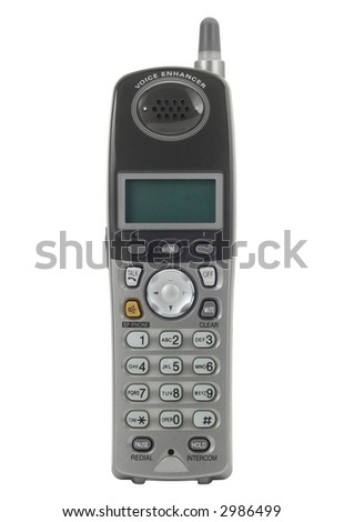 Cordless phone isolated on white. - stock photo