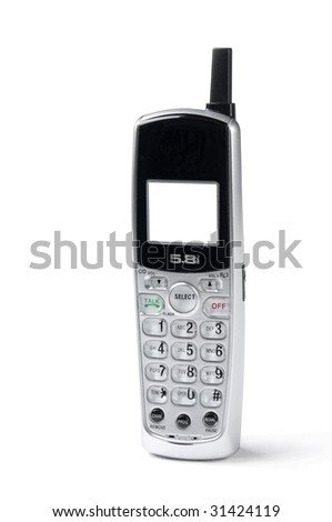 cordless phone on white background, slight shadow,blank screen add your own message - stock photo